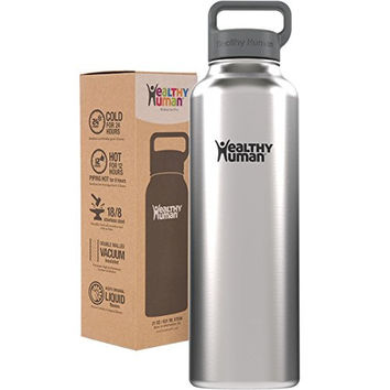 Healthy Human 40 oz Vacuum Insulated Thermos Water Bottle Flask with Hydro Guide - Ideal for Hot & Cold Drinks - Iced Water, Coffee, Tea & Beer. 40oz Brushed Steel