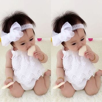 Sweety Little Girls Summer Bodysuits Newborn Baby Girl Infant Bow Jumpsuit Bodysuit Tutu Lace Dress Clothes Outfit