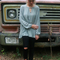 Morning Fog Long Sleeve Sage Trapeze Tunic Top With Keyhole Cutout
