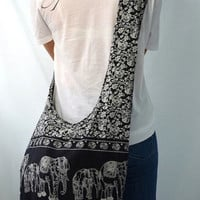 Absolute Black Cotton Printed Standing Elephants Crossbody Shoulder Hippie Boho Hobo Messenger Bag E119