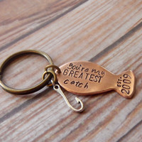 You're My Greatest Catch Copper Fish Keychain With Hook - Custom Date