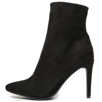 Chinese Laundry Song Bird Micro Suede Black Heeled Booties
