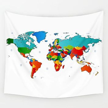 Simple World Map Tapestry