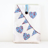IPad Air case , Blue flower applique bunting and hearts , fabric tablet cover sleeve suitable for IPad Air , UK seller