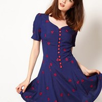 Nishe Heart Embroidered Sweetheart Tea Dress at asos.com