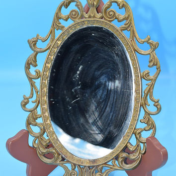 Italy Gold Framed Mirror Vintage Small Ornate Italian Wall Decor Hanging Oval Mirror Hollywood Regency Italy Vanity Dresser Mirror