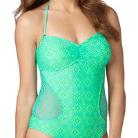 Mint Crochet Overlay One Piece Swimsuit - Blue/Green