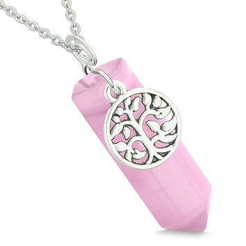 Magical Tree of Life Energy Amulet Lucky Crystal Point Pink Simulated Cats Eye Pendant 18 Inch Necklace