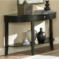 Homelegance Brooksby Half Moon Mirrored Sofa Table in Cherry
