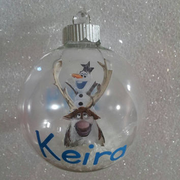 Frozen olaf and sven Floating  Christmas ornament personalized with Vinyl! Personalized Frozen ornament
