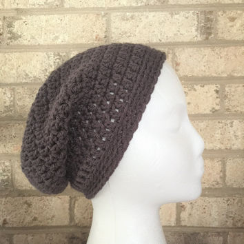SALE Ready To Ship Slouchy Hat Dark Gray Graphite Slouchy Beanie  Crochet Hat Beanie Women's Crochet Hat Accessories Gifts For Her