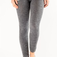 Textured Waistband Fleece Leggings - Grey