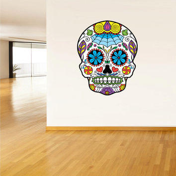 Full Color Wall Decal Mural Sticker Decor Art Beautyfull Cute Sugar Skull Bedroom Curly modern fashion (col562)