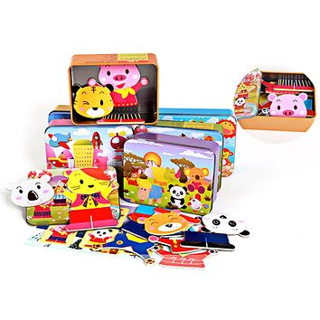 Baby Wooden Magnetic 3D Puzzle Cute Bear Dress Changing Jigsaw Puzzle Cartoon Animal Children Educational Toys with Iron Box
