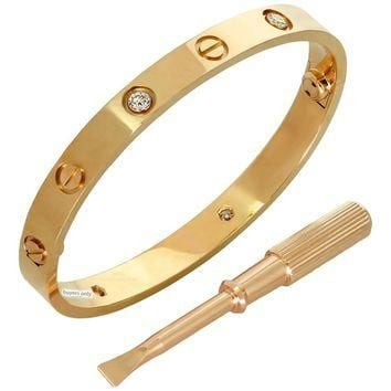 Cartier Love Four Diamond Rose Gold Bracelet Box Papers
