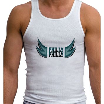 Philly Philly Funny Beer Drinking Mens Ribbed Tank Top by TooLoud