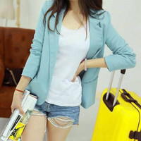 Sky Blue Lapel Collar Long Sleeve Blazer