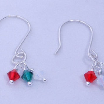 Christmas Earrings with Swarovski Bicones and SS Findings