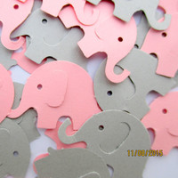 110-Pink and gray Elephant confetti-Baby girl shower decorations-punched elephants-Grey elephants-Scrapbooking die cuts-pink paper elephants