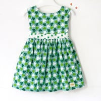 St Patricks day baby dress, toddler dress, green shamrock and clover, green shamrock girl's dress