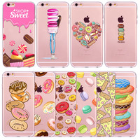 Rainbow Color Food Donuts Macaron Silicon Gel Phone Cases For iPhones