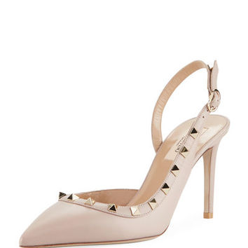 Valentino Garavani Rockstud Leather 85mm Slingback Pump