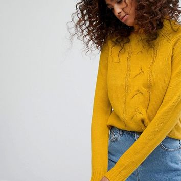 Noisy May High Cable Front Knit Jumper at asos.com