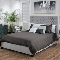 Sethur Fully Upholstered Light Grey Fabric Queen Bed