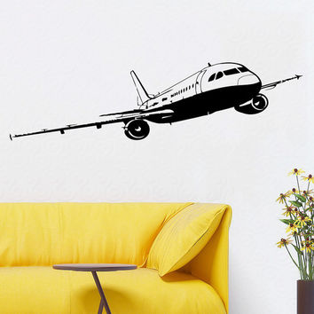 Wall Decals Plane Airplane Boeing Aircraft Vinyl Decal Sticker Home Art Mural Interior Design Boy Kids Nursery Baby Room Decor D84