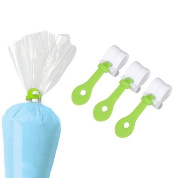 3 pcs/lot Cake Decorating Bag Clips DIY Piping Decorating Bag Buckles Reusable Baking Tools Holds Kitchen Accessories