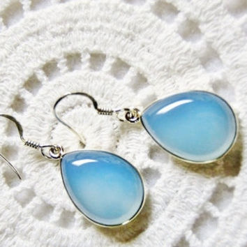 Chalcedony earrings sterling jewelry blue chalcedony silver earrings gift for her gemstone earrings elegant jewelry blue dangle earrings