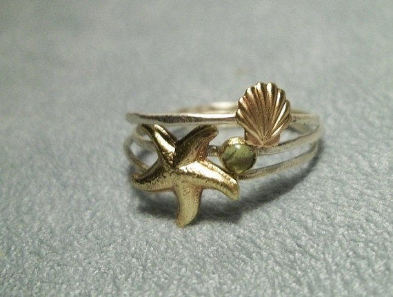 Stackable Sterling Silver Rings with Brass Seashell, Starfish and Topaz Gemstone