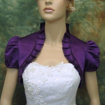 Purple short sleeve satin wedding bolero jacket by alexbridal