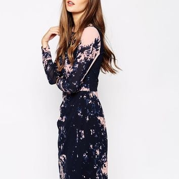 Whistles Bodycon Dress in Abstract Tree Print