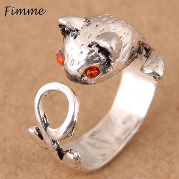2018 Handmade Red Eyes Fox Cuff Rings for Men Women Adjustable Vintage Wrap Rings Cute Animal Jewelry Unique Gift for Women