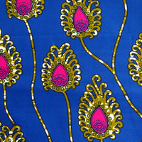 Blue and pink floral  African print fabric by the Yards/ Ankara fabric/ African Supplies/ African print fabric/ flowers fabric/ blue fabric