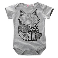 summer style baby boy romper newborn baby clothes Cute Fox Printed new born baby girl clothing children toddlers rompers