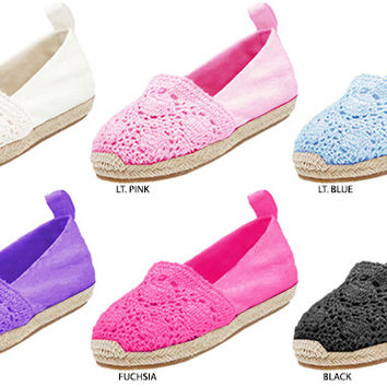 toddler crochet canvas slip-on's with espadrille bottom Case of 36