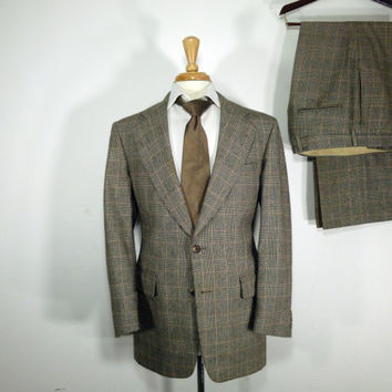 Vintage Mens suit, vintage clothing 80's by Palm Beach for Carlisle's Two Piece Two Button Classic Glen Plaid 42 44