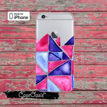 Triangle Pattern Pink Blue Watercolor Art Clear Case iPhone 6 iPhone 6s iPhone 6s Plus iPhone 5/5s iPhone 5c iPhone SE iPhone 7 Plus Case