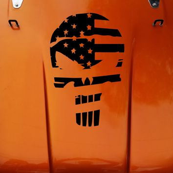American Flag Punisher Skull Vinyl Decal Sticker fits: Jeep CJ