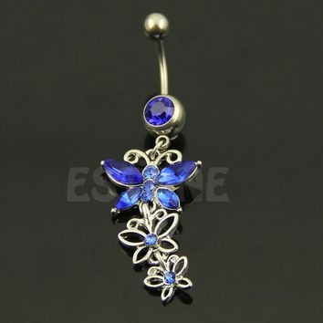 Butterfly Belly button ring Body piercing Jewelry Dangle Crystal Gem 14G 316L surgical steel bar Nickel-free