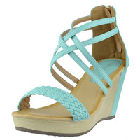 Womens Platform Sandals Weaved Strappy High Wedge Shoes Blue SZ
