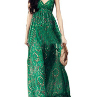 Green Floral Print V-Neck Spaghetti Strap Maxi Dress