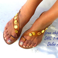 Luxury brown sandals with gold elements, Bridal Sandals, Greek Sandals, exclusive Delos Art sandals, handmade to order
