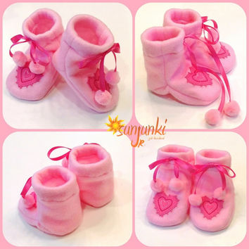 Baby Girl Booties Infant Girl Sock Boots Soft Sole Shoe Girl Fleece Boots Slippers Pink Valentine Shoes Pink Pom Pom