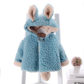 Baby Girls Winter Coat Faux Fur Fleece Children Jackets for Girls Clothing Rabbit Hooded Warm Kids Newborn Baby Outerwear Coats