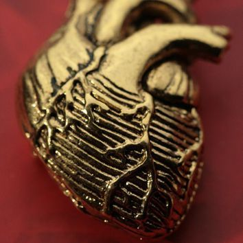 Anatomical Heart Necklace 24k Gold-Plated