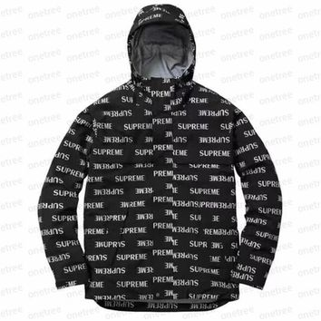 Supreme 16FW English 3M Fashion Print Hooded Cardigan Jacket Coat