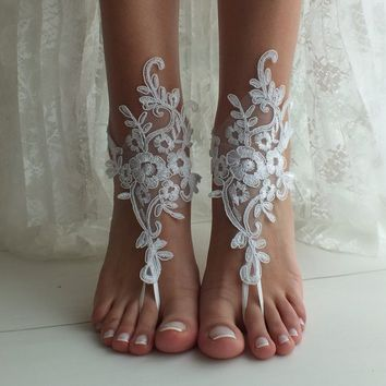White Beach wedding barefoot sandals wedding shoes beach shoes bridal accessories bangle beach anklets bride bridesmaids gift